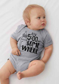 5bd2ed04e It's 5 AM Somewhere Bodysuit Newborn Funny Bodysuit Cute Baby Shirt Bodysuit