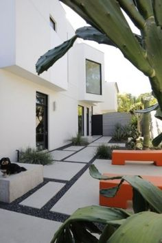 Mandel House modern landscape - great benches!