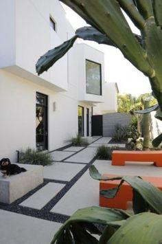 Mandel House modern landscape - great benches!