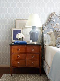Tobi Fairley: Stylish Bedroom With F. Schumacher Modern Trellis Wallpaper  In Cirrus, Featuring