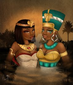 """the Nebty (""""Two ladies"""") - they symbolized a united Egypt and guarded the pharaoh; name was associated with the patron goddesses of Upper Egypt - NEKHBET (represented by as a griffon vulture) and Lower Egypt - WADJET (represented as an Egyptian cobra); often shown together - sisters"""