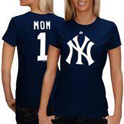New York Yankees #1 Mom Logo T-shirt - Navy Blue