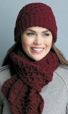 Pretty burgundy hat and scarf set from #LeisureArts