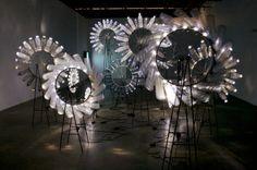 Diane Landry: Knight of Infinite Resignation Sound Sculpture, Sculpture Art, Sculptures, Artistic Installation, Light Installation, Water Bottle Art, Shabby, Shops, Found Art