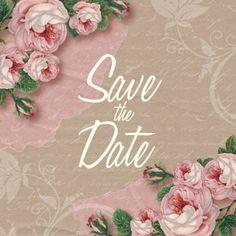 Een mooie, romantische Save the Date trouwkaart met kraftprint en rozen. Alle teksten kun je zelf aanpassen.  #savethedate #liefde #trouwen #rozen #kaartje2go