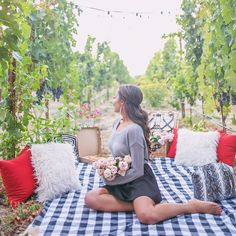 "4,528 Likes, 121 Comments - Elizabeth  Keene (@elizabethkeene) on Instagram: ""The perfect sunset picnic in the vineyards of Napa with my #GirlTalkGetaway babes. There was pizza,…"""