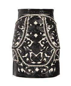 baroque leather panelled skirt balmain s/s2012 brown's fashion
