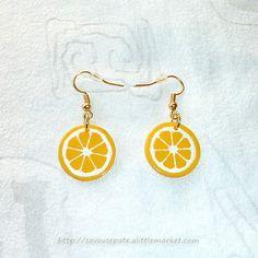 Boucles d'oreille en CD recyclé n°39 : Rondelles de citron - par Savousepate - http://www.alittlemarket.com/boucles-d-oreille/fr_boucles_d_oreille_en_cd_recycle_n39_rondelles_de_citron_-7967643.html
