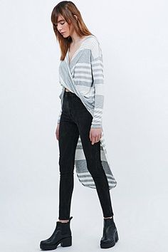 Sparkle & Fade Stripe Surplice High-Low Top in Ivory and Grey - Urban Outfitters