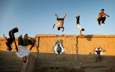 Palestinians Practicing Parkour In Gaza