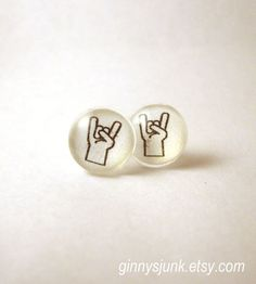 Sign of the Horns Metal Music Post earrings  Glass by GinnysJunk, $10.00