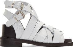 the best attitude 79d40 8da1a Acne Studios White Grained Leather Lenna Strappy Sandals Sandalias Blancas,  Sandalias De Tiras, Sandalias