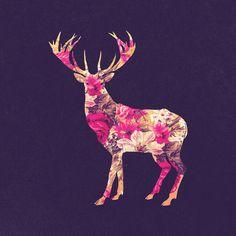 Elegant Pink Vintage Floral Deer On Retro Blue Art Print by Girly Road
