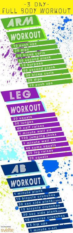 Use this handy 3-day whole body workout program to tone your arms, legs, and…