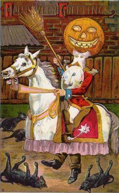 Man in Jack O'Lantern Riding Horse Costume Vintage Halloween Postcard