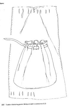 Late 13th- Early 14th Century Drawstring Pouch (Circa 1270-1350) by Ld. Chas. Oakley. Illustration from Museum of London; Medieval Finds from Excavations in London: 3, Dress Accessories c. 1150 - c. 1450, Geoff Egan and Frances Pritchard, 1991, ISBN 0 11 290444 0, pages 342-345.