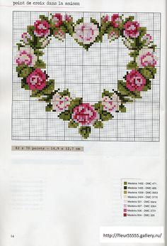 Cross-stitch rose heart
