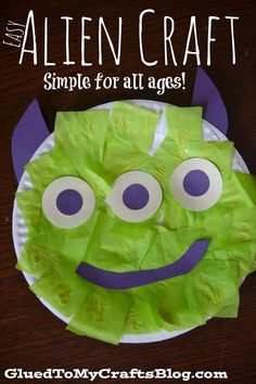 Paper Plate Easy Alien {Kid Craft} - Glued To My Crafts