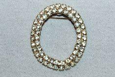 Vintage / Oval / Brooch / Rhinestones / Clear by AmericanHomestead
