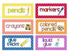 Polka Dot Classroom Supply & Number Labels (with and w/o p image 3