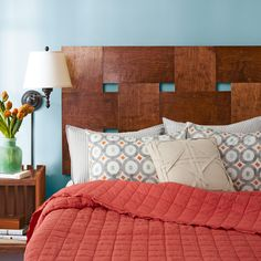 Sleep in style with this beautiful wooden headboard. You don't have to be a skilled woodworker to transform plain plywood into a woven headboard.