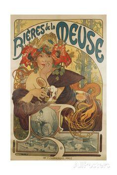 Meuse Beer, 1897 Poster van Alphonse Mucha bij AllPosters.nl