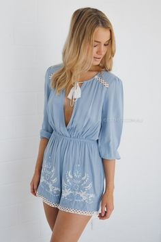 3247a0715347 bobby playsuit - blue White Lace Playsuit