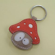 Cute Mushroom Handmade Leather Keychain FREE Shipping by snis, $14.00