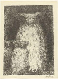 Uil met twee uilskuikens zittend op tak, Henri De Groux, L'Epreuve, P. Lemaire, 1893 - 1895