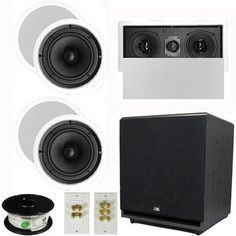 "5.1 Home Theater 8"" Ceiling Speaker Set with Center, 15"" Powered Sub and More TS80CL51SET9 by Theater Solutions. $447.99. Specifications4 TS80C In Ceiling/Wall Speakers8"" Woven Kevlar Drivers with 30-20,000 Hz Range250 Watts RMS and 500 Watts Max per pair92dB SensitivityCeiling Cut Out Size is 9.625""Overall Measurement is 11.0625""Mounting Depth is 3.5625""1 TSLCR5 In Ceiling/Wall Center ChannelDual 5.25"" Woven Kevlar Drivers with Rubber Surround100 Watts RMS and 200 Watts M..."
