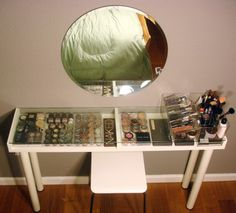 Nifty DIY Makeup Vanity - LOVE that the glass top that allows you to easily see and find everything!!