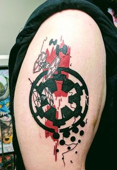 Trash Polka Imperial Emblem (Star Wars) - by James Greenway at Capital Tattoo - . - Trash Polka Imperial Emblem (Star Wars) – by James Greenway at Capital Tattoo – Edmonton AB - Star Wars Logos, Star Wars Tattoo, Star Wars Quotes, Star Wars Art, Geek Tattoos, Star Tattoos, Disney Tattoos, Body Art Tattoos, Tatoos
