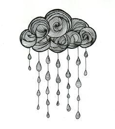 Nuage - Dessin, 21x29 cm ©2015 par Valentine Fasquel - Papier, dessin, tatouage, linework, nuage, pluie