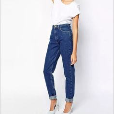 """American Apparel High-Waist Jean size 29 American Apparel """"High-Waist Jean"""" in women's size 29. Worn a handful of times.  No blemishes - stains, rips, etc. No longer manufactured in this dark wash. They only have a light wash on their website. Retails for $90 new.  Classic """"mom jean"""" look. Made in USA. Non-stretching denim. American Apparel Jeans Straight Leg"""