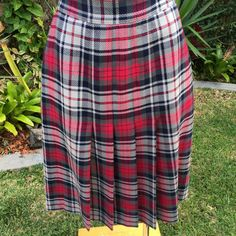 Vintage Steinbock Wool Plaid Skirt Pink and Navy Shades Size 8  FREE WORLDWIDE FREIGHT by PippiLime on Etsy