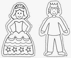 Princ a princezná Doodle People, Bible Crafts, Wedding With Kids, Disney Crafts, Garden Crafts, Paper Toys, Held, Coloring Pages For Kids, Fairy Tales