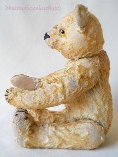Античный Steiff плюшевого мишку 1948/49 производится только небольшой 12-дюймовый шарнирный светлые шелковые плюшевые потрепанный старый медведь со стеклянными глазами, марочные Steiff медведь