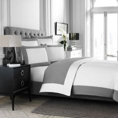 Wamsutta® Hotel MicroCotton® Reversible Duvet Cover in White/Charcoal - BedBathandBeyond.com