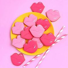My giveaway post is getting WAY more attention than I was anticipating but I'm thrilled everyone is as excited by this set of… Cut Out Cookies, Sugar Cookies, Cookie Crush, Lip Shine, Cookie Designs, Edible Art, Be My Valentine, I Got This, Cookie Decorating