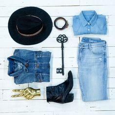 The Perfect Denim Wardrobe - Nothing complements a classic denim wardrobe like Western-inspired accessories. A cool fedora, leather belt and ankle boots are the perfect add-ons.