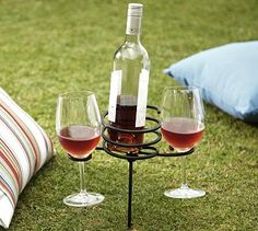"""Picnic Beverage Stake #potterybarn...just got this to put between the lounge chairs out back...."""" Chill some wine """"!   CB"""