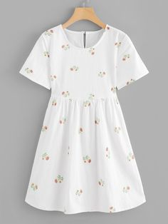 Cute A Line Floral Sheath Flared Round Neck Short Sleeve Natural White Short Length Floral Embroidered Keyhole Back Dress Dress Outfits, Cute Outfits, Fashion Outfits, Dress Clothes, Fashion Fashion, Fashion Ideas, Vintage Fashion, White Dress Summer, Summer Dresses