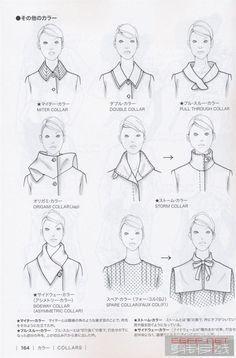 Guid to fashion design by Bunka fashion coollege (Japan): collars. Fashion Terminology, Fashion Terms, Fashion Art, Fashion Illustration Sketches, Fashion Sketchbook, Fashion Sketches, Illustrations, Retro Mode, Fashion Dictionary