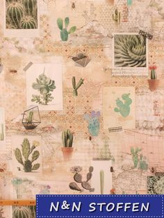 Bedrukte stof digitaal cactus