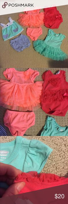 Girlie Girl size 0-3 mo Baby lot Super cute clothes for a super cute little girl! Smoke and pet free. Brands are First Impressions (Macy's), Cherokee, Kyle & Deena, and Old Navy. VGUC- there are two tiny bleach spots on the turquoise tutu dress and the shoulder of the hot pink onesie has a small catch in it from some Velcro but it's not noticeable unless you're really looking for it. Dresses Casual