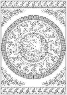 New Art Drawings Doodles Free Printable Ideas Madhubani Paintings Peacock, Kalamkari Painting, Tanjore Painting, Madhubani Art, Indian Art Paintings, Mandala Design, Mandala Art, Mandala Coloring Pages, Free Coloring Pages