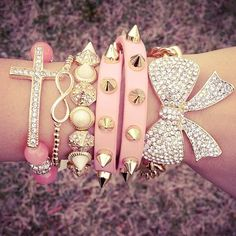 Pink cross, infinity, spikes, bow
