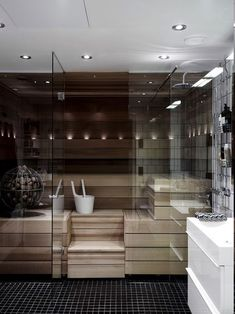 ▷ 1001 + ideas for designer bathrooms - your dream will come true!Sauna with LED light, rainbow shower, small black floor tiles, three metal cosmetic shelves, small LED lamps on the ceilingA nice sauna: a Minimal Bathroom, Modern Bathroom, Small Bathroom, Boho Bathroom, Sauna Design, Sauna Room, Dream Bathrooms, Marble Bathrooms, Master Bathrooms