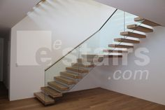 Floating/Cantilevered Staircase with Glass Railings contemporary
