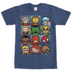 Kawaii Boxes - The Marvel Kawaii Heroes Heather Navy Blue T-Shirt shows off the cuter side of some of your favorite heroes! Kawaii style cartoons like Thor, Captain America, Iron Man, Spider-Man, Iron Fist, and the Hulk peek out at you from this awesome blue Marvel
